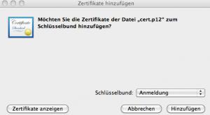 Installation Zertifikat auf Mac