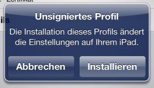 Installation auf iPad (2)