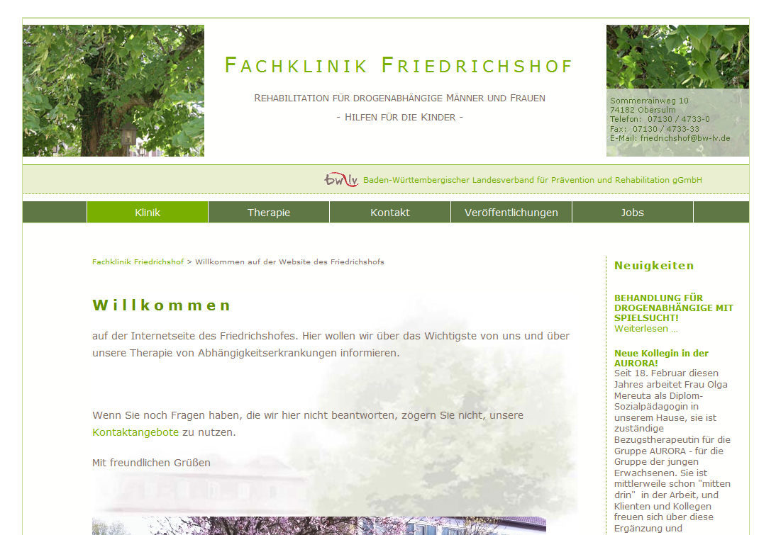 Startseite der Fachklinik Friedrichshof