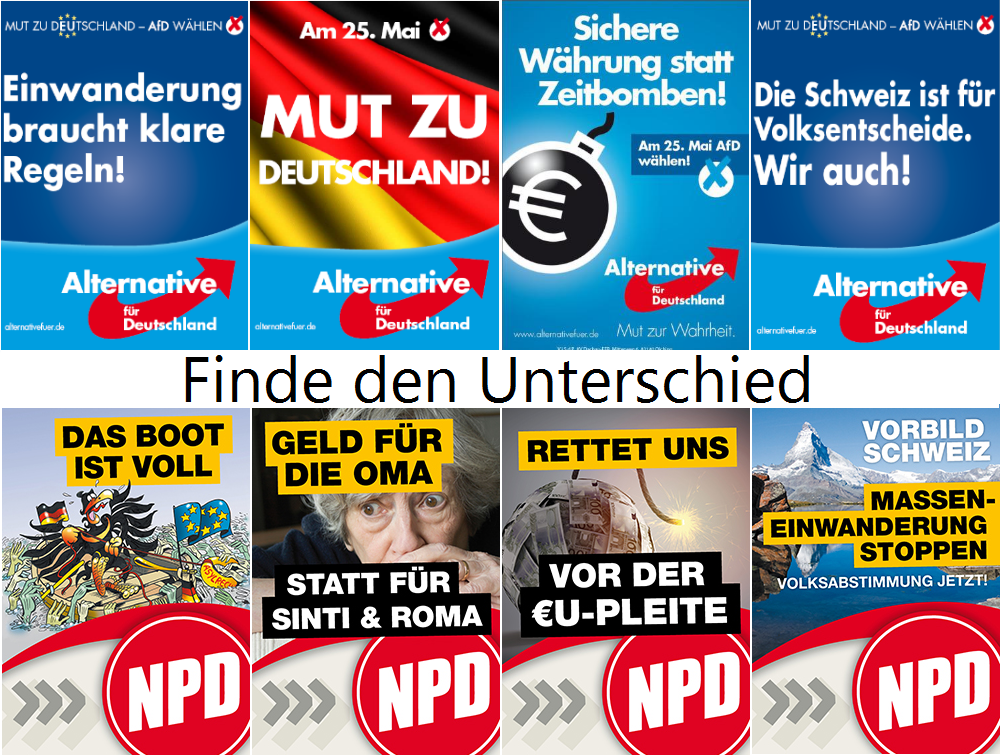 NPD- und AFD-Wahlplakate im Vergleich