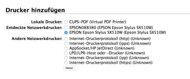 CUPS Drucker hinzufügen