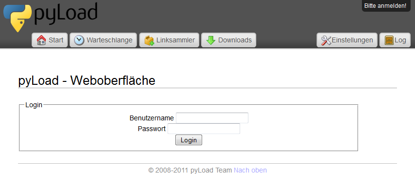 pyLoad Login-Maske